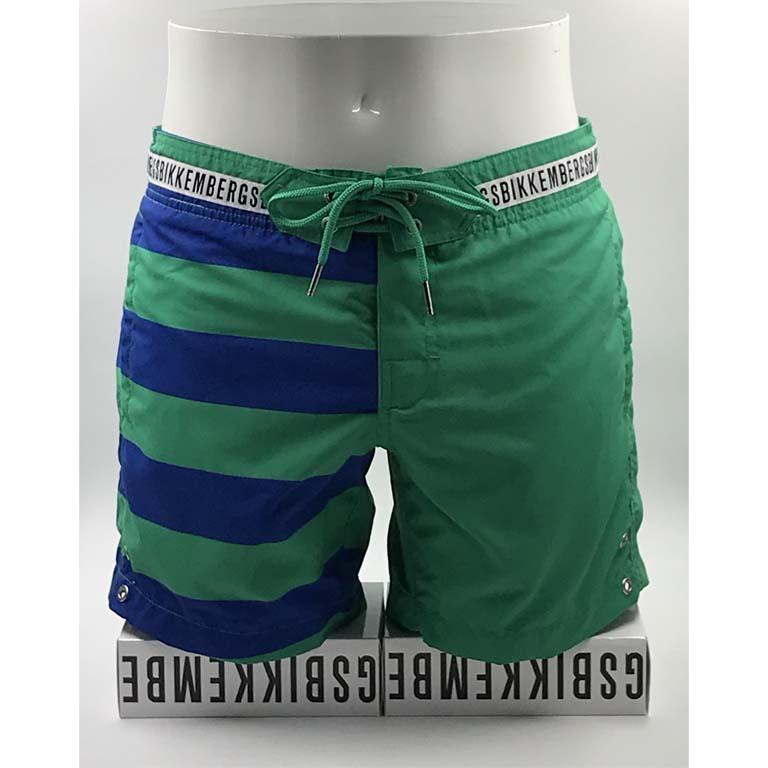 Uomo: Abbigliamento Mare E Piscina Bikkembergs Costume Mare Uomo Boxer Pantaloncino Lungo Vita Elastica Verde